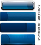 set of blank dark blue buttons... | Shutterstock .eps vector #185695649