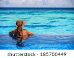 relaxing on beach resort  back... | Shutterstock . vector #185700449