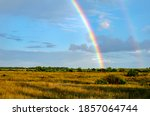 Rural Landscape With A Rainbow...