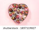 Flat Lay. Variety Of Chocolate...