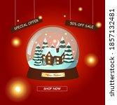 christmas sale background.... | Shutterstock .eps vector #1857132481