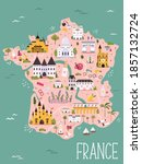 france hand drawn vector map... | Shutterstock .eps vector #1857132724