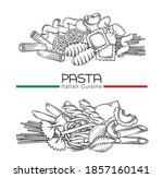 italian pasta macaroni outline...   Shutterstock .eps vector #1857160141