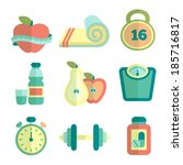 set of fitness flat icons.... | Shutterstock .eps vector #185716817