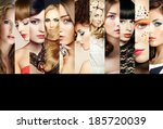 beauty collage. faces of women. ... | Shutterstock . vector #185720039