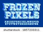 frozen pixels alphabet font. 3d ... | Shutterstock .eps vector #1857233311