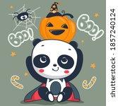 cute panda dracula costume... | Shutterstock .eps vector #1857240124