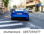 Back View Of Blue Jaguar F Type ...