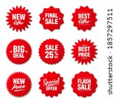 realistic red price tags... | Shutterstock .eps vector #1857297511