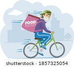 bike courier with protective... | Shutterstock .eps vector #1857325054