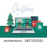 christmas online greeting.... | Shutterstock .eps vector #1857355231