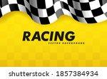 waving checkered flag along the ... | Shutterstock .eps vector #1857384934
