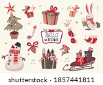set of cute merry christmas and ... | Shutterstock .eps vector #1857441811