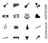vector black music instruments...   Shutterstock .eps vector #185744189