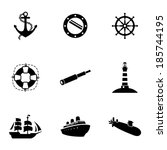 vector black nautical icons set ... | Shutterstock .eps vector #185744195
