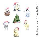 Watercolor Christmas Animal...