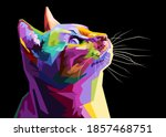 Colorful Cat Isolated On Black...