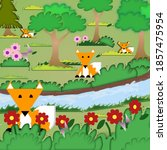 four foxes in the forest | Shutterstock . vector #1857475954