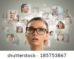 young woman standing and... | Shutterstock . vector #185753867