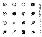 vector black sport icons set on ... | Shutterstock .eps vector #185754761