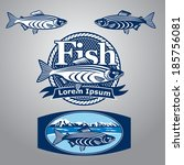 blue fish sign and labels   Shutterstock . vector #185756081
