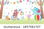 animals form a circus band and... | Shutterstock .eps vector #1857581707