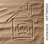 House Symbol Drawing On Beach...