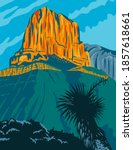 Guadalupe Mountains National Park with El Capitan Peak Texas United States WPA Poster Art Color