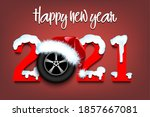snowy new year numbers 2021 and ... | Shutterstock .eps vector #1857667081