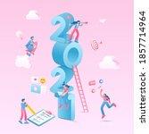 happy new year 2021. 2021... | Shutterstock .eps vector #1857714964