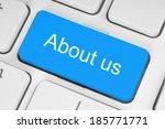 blue about us keyboard button   | Shutterstock . vector #185771771