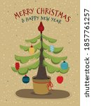 christmas tree decorated with... | Shutterstock .eps vector #1857761257