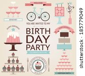 vector collection of birthday...   Shutterstock .eps vector #185779049