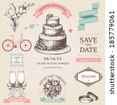 vector vintage set of... | Shutterstock .eps vector #185779061
