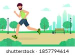 man is jogging in city park and ... | Shutterstock .eps vector #1857794614