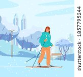 young woman skiing in winter... | Shutterstock .eps vector #1857795244