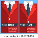 flat business card template... | Shutterstock .eps vector #185780159
