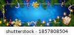 christmas blue background with... | Shutterstock .eps vector #1857808504