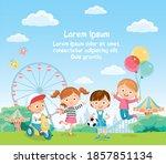 vector children having fun in... | Shutterstock .eps vector #1857851134