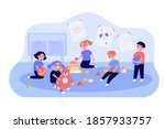 cute children playing with toy... | Shutterstock .eps vector #1857933757