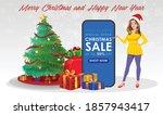 christmas santa girl character... | Shutterstock .eps vector #1857943417