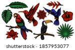 set of colorful vector tropical ... | Shutterstock .eps vector #1857953077