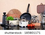 kitchen tools on table in... | Shutterstock . vector #185801171