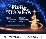 shiny christmas tree decorated... | Shutterstock .eps vector #1858056784