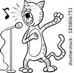 black and white cartoon vector... | Shutterstock .eps vector #185806751