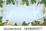 christmas background with... | Shutterstock .eps vector #1858085977