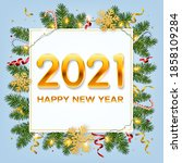 new year 2021 background with... | Shutterstock .eps vector #1858109284