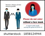 wear mask. face covering sign.  ... | Shutterstock .eps vector #1858124944