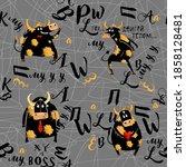 bulls seamless pattern on gray... | Shutterstock . vector #1858128481