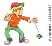 little boy playing yo yo. eps10 ... | Shutterstock .eps vector #185814857